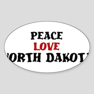 Peace Love North Dakota Oval Sticker