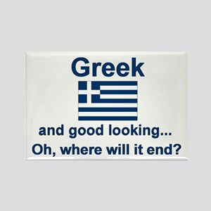 Good Looking Greek Rectangle Magnet