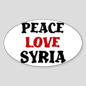 Peace Love Syria Oval Sticker
