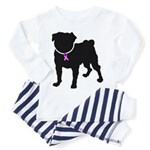 Pug Breast Cancer Support Toddler Pajamas