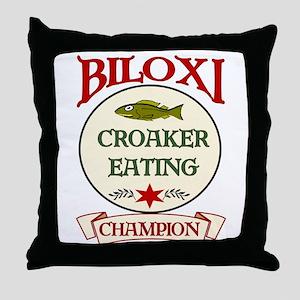 Biloxi Croaker Eating Champ Throw Pillow
