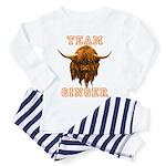 Team Ginger Scottish Highland Cow Toddler Pajamas