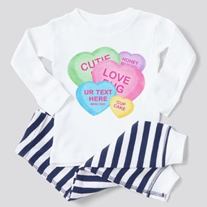 Fun Candy Hearts Personalized Toddler Pajamas