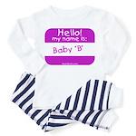 baby b nametag (pink) Toddler Pajamas