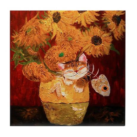 cat art sunflowers Van Gogh Tile Coaster