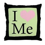 I Heart Me Throw Pillow Green / Pink / Black