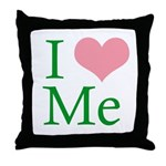 I Heart Me Throw Pillow White/ Pink / Green