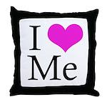 I Heart Me Throw Pillow White / Hot Pink / Black