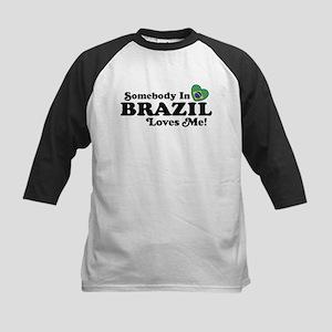 Somebody In Brazil Loves Me Kids Baseball Jersey