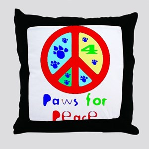 Paws for Peace Red Throw Pillow