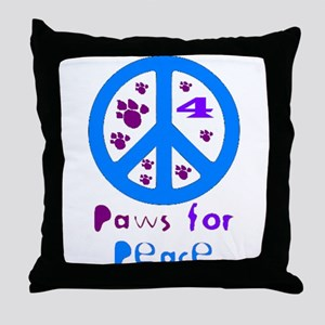 Paws for Peace Blue Throw Pillow