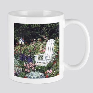 White Chair in Garden Mug