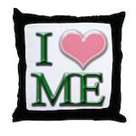 I Heart Me Throw Pillow White / Pink / Green