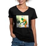 Fish Guy Plumber Women's V-Neck Dark T-Shirt