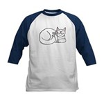 White ASL Kitty Kids Baseball Jersey