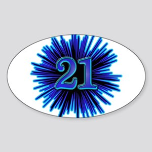 Cool 21st Birthday Oval Sticker