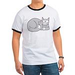 Gray/White ASL Kitty Ringer T