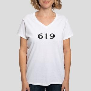 619 Area Code Women's V-Neck T-Shirt