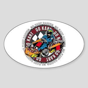 Go Kart Racing Sticker (Oval)