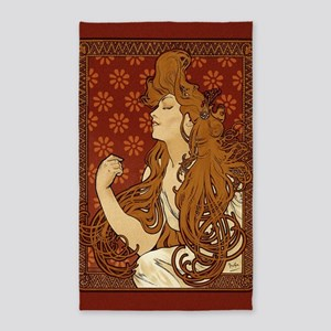 art-nouveau-long-hair-woman-red_sb Area Rug