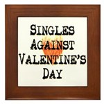 Singles Against Valentines Day Framed Tile
