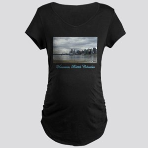 Downtown Vancouver BC Maternity Dark T-Shirt