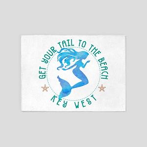 Key West Vintage Mermaid 5'x7'Area Rug