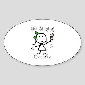 Coffee - Singing Barista Oval Sticker