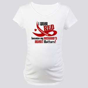 Red For My Husband Heart Disease Maternity T-Shirt