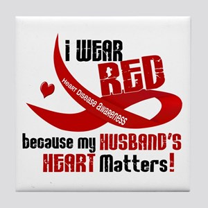 Red For My Husband Heart Disease Tile Coaster