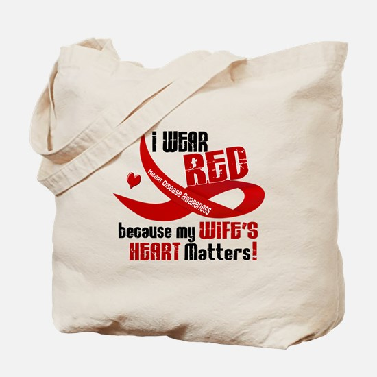 I Wear Red For My Wife Heart Disease Tote Bag