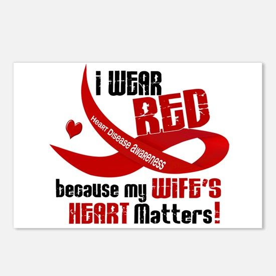 I Wear Red For My Wife Heart Disease Postcards (Pa