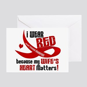 I Wear Red For My Wife Heart Disease Greeting Card