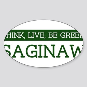 Green SAGINAW Oval Sticker