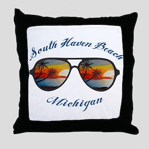 Michigan - South Haven Beach Throw Pillow