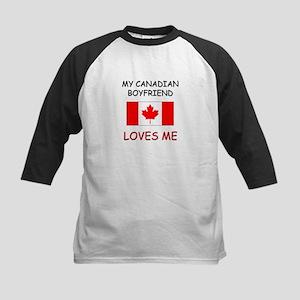 My Canadian Boyfriend Loves Me Kids Baseball Jerse