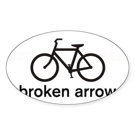 Bike Broken Arrow Oval Sticker