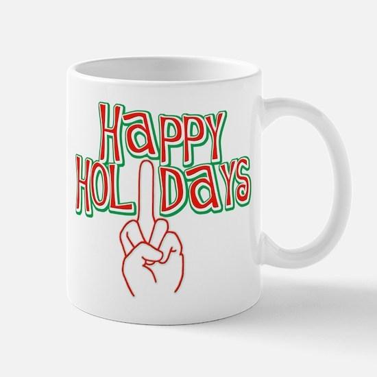 happy holidays finger Christmas Mug