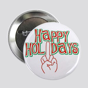 """happy holidays finger Christmas 2.25"""" Button (10 p"""