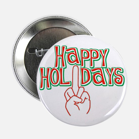 "happy holidays finger Christmas 2.25"" Button (10 p"