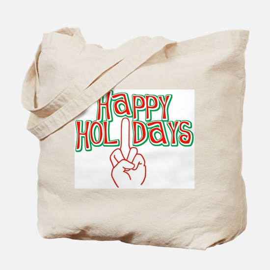 happy holidays finger Christmas Tote Bag