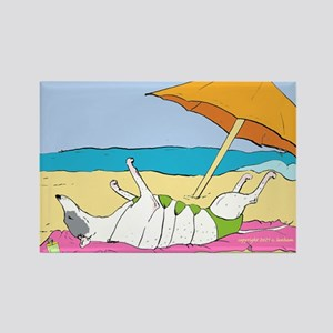 """""""Greyhound on the Beach"""" Rectangle Magnet"""