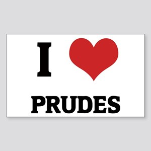I Love Prudes Rectangle Sticker