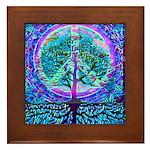 Blue Rainbow World Peace Framed Tile