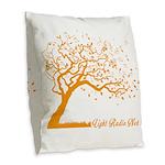 Automne Leaves Orange Burlap Throw Pillow