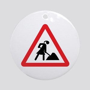 women construction warning si Ornament (Round)