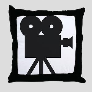black cine camera hollywood Throw Pillow