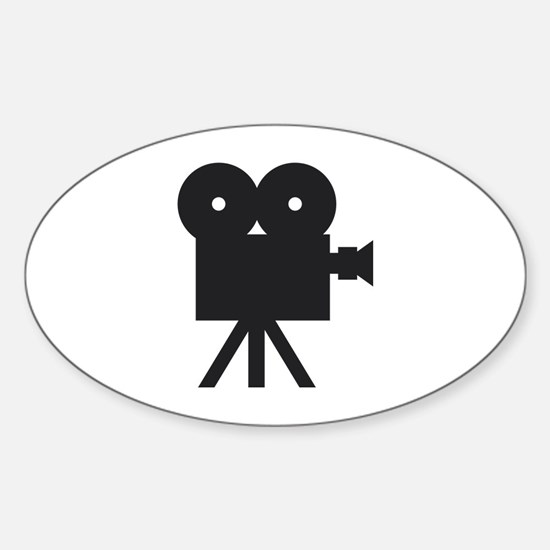 black cine camera hollywood Oval Decal