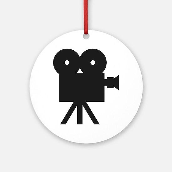 black cine camera hollywood Ornament (Round)