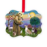 St Francis - 2 Bull Terriers (10-11) Ornament